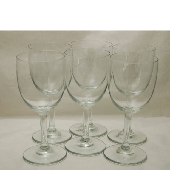 """Vintage C 1960s 6 CRYSTAL WINE GLASSES - 6 3/4"""" T Excellent Like New Condition, Bowl 3 1/4""""T x 2 15/16"""" di."""