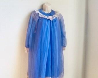 Vintage Purple Lilac Peignoir Nightgown and Robe Set Size Medium