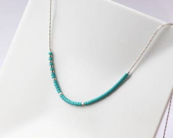 Minimalist thin turquoise necklace - beaded necklace - silver snake chain necklace - tiny beads necklace - turquoise jewels - beaded choker