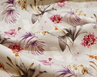 Exotic flowers printed cotton poplin
