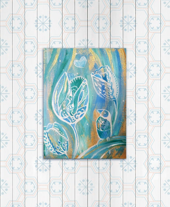 White flower oil painting original art work zentangle bird mightylinksfo Gallery