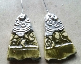 Ceramic Earrings Charms Pair with Decorative Tinwork - You Choose Metal Color - #a86