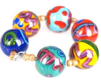 Lampwork glass beads Joy (6), jewelry supplies, handmade lampwork, beads