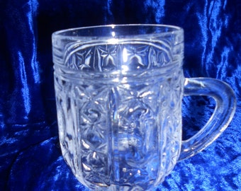 Soviet vintage glass cup with handle Crystal alcohol cup from USSR Beer, juice, water cup Soviet style of 1980-s