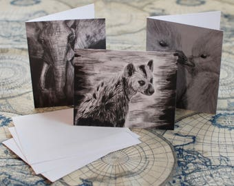 "Assorted Charcoal/Graphite Notecard Set of 30 - 5.5""x4"""