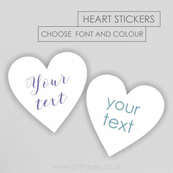 Heart shaped your text stickers custom personalised