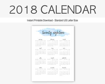 2018 Yearly Calendar: Watercolor Calendar, Home Management, Printable, Goal Setting, Year at a Glance, 2018 Planner, Twenty Eighteen