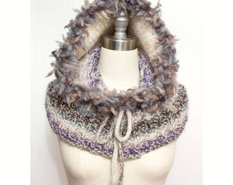Hooded Cowl with Faux Fur Trim and Tassle