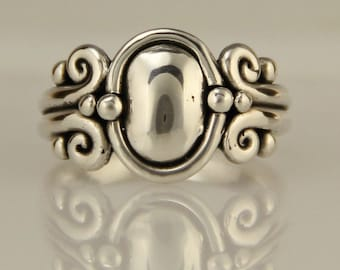 Sterling Silver Domed Scroll Ring/ Victorian Silver Ring/ One of a Kind Ring/ Size 7.25/ Silver Thumb Ring/ Casual Silver Ring/ Egyptian
