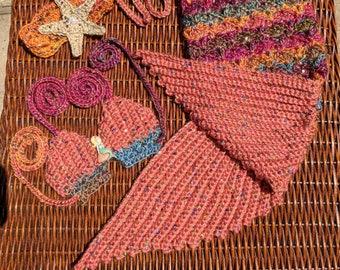 Mermaid Tail Blanket Baby Newborn Cocoon Starfish Crochet Sea Princess