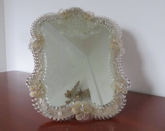 Vintage old mirror Venetian Murano glass with flowers art deco 1940 1950 40's 50's mid century old vintage italian Murano mirror