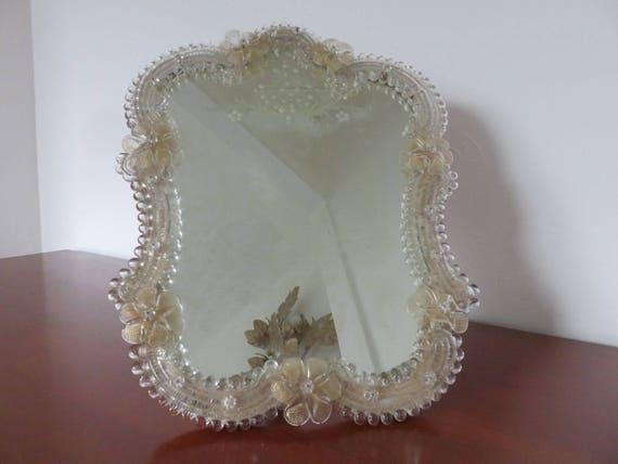 ancien grand miroir v nitien en verre de murano avec fleurs. Black Bedroom Furniture Sets. Home Design Ideas