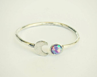 sterling silver moon purple opal ring, hammered ring, fire opal ring, moon ring, sterling silver jewelry