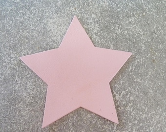large star 9 cm thin leather, pale pink, for creation and customization