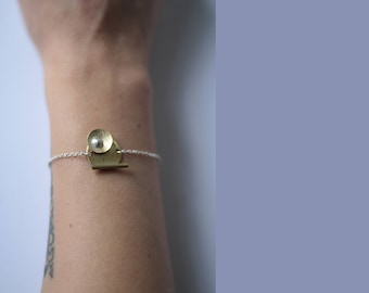 Abstract 4 Bracelet, silver and brass, one of a kind, handmade