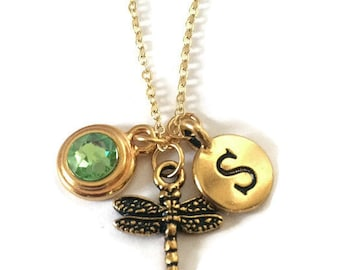 Personalized Gold Dragonfly Necklace, Customizable with Initial and Choice of Swarovski Birthstone