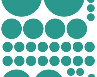 70 Teal Turquoise Vinyl Polka Dots Bedroom Wall Decals Stickers Teen Kids Baby Nursery Dorm Room Removable Custom Made Easy to Install