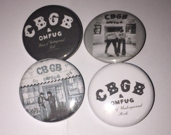 Set of 4 CBGB Buttons sized at 1.25 inches - OMFUG New York City Nightclub East Village NYC The Ramones