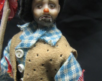 HOBO CIRCUS CLOWN  A Miniature Porcelain sculpted doll by Kay Brooke