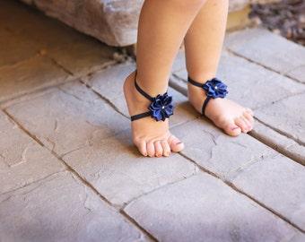 Baby Barefoot Sandals ~ Navy Blue Flower Sandals ~ Toddler Sandals ~ Newborn Sandals ~ Baby Flower Sandals ~ Flower girl sandals