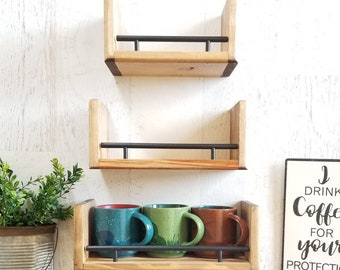 Floating Shelf Set, Kitchen Decor, Bathroom Decor, Wood Shelves, Wall Decor, Accent Shelves,  Wood Floating Shelf, Wall Shelf, Spice Rack