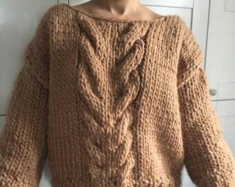 Chunky knit Sweater jumper 100 % wool & handmade CARMEL