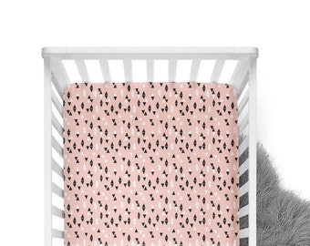 Fitted Crib Sheet Triangles Pale Pink - Crib Sheet - Triangle Crib Sheet - Pink Crib Sheet - Toddler Sheet - Pink Crib Bedding - Baby Sheet