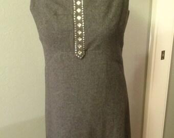 Fabulous vintage 1960s grey wool and rhinestone shift dress size 8-10