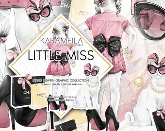 Cute Girl Clipart, Girl Birthday Clipart Fashion Accessories Illustrations Little Miss Watercolor Cat Bows Shopping Bags Planner Supplies