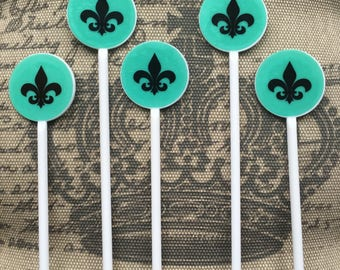 Fleur de Lis Stir Sticks Customized for Weddings, Bachelorette/ Bachelor Parties, Bridal Showers