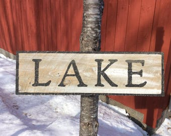 Lake hemlock wood sign