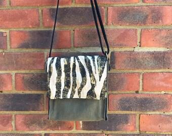 handmade bag, messenger bag , vegan bag, shoulder bag,black handle school bag handemade in uk denim bag