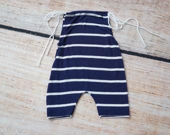 Upcycled Newborn Romper, Navy Blue Striped Baby Romper, Baby Boy Photo Outfit, Baby Boy Photography Prop, Photo Prop, Newborn Boy Romper