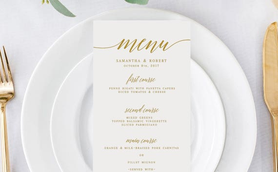 Gold Elegant Wedding Menu Template Wedding Menu Editable