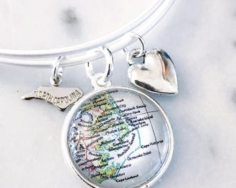 Outer Banks Map Charm Bracelet - OBX Charm Bracelet - Outer Banks Charm Bracelet - OBX Bracelet - Outer Banks Bracelet