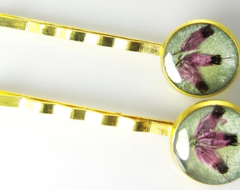 Heather, Pair of Real Flower Hair Pins,  Resin, Pressed Flower Jewelry, Brass (1671)