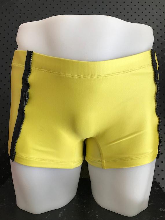 INTRODUCING our Mens euro swim truck brand: ROGUEswim ** REBELYELL swim short with BLACK zipper side panel detail