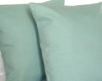 Spa Blue Toss Pillow Cover - 22x22, 24x24 or Euro 26x26 inch Solid Decorative Throw Cushion Cover - Aqua Light Blue, More Sizes Available
