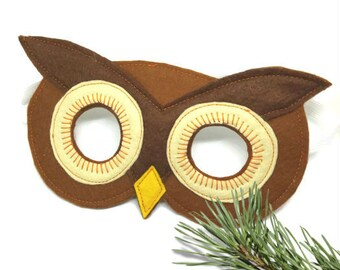 Owl Mask - Woodland Mask - Animal Mask - Bird Costume - Woodland Animal Party - Animal Costume - Owl Disguise - Felt Mask
