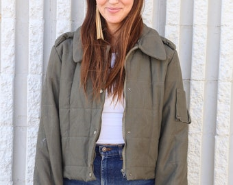 Vintage Army Green Quilted Military Moto Jacket Small