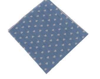 Denim Pocket Square.light Blue Handkerchief.Pattern Pocket Square.Mens Pocket Square