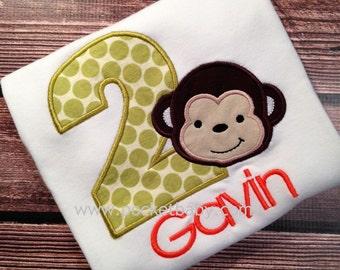 Personalized Monkey Birthday Shirt - Mod Monkey Birthay Shirt - You Choose your Fabrics - by Pocketbrand