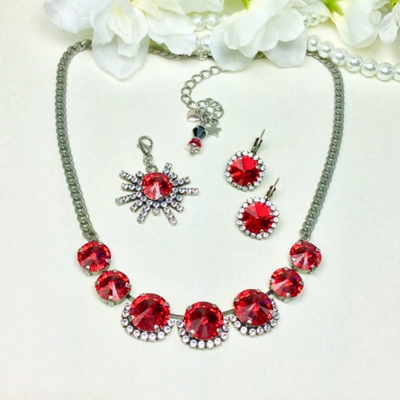 Swarovski Crystal Necklace -  14mm/12mm - Lt. Siam Red and Clear Crystals with Halo - Sparkle & Shimmer  Holiday Perfection- FREE SHIPPING