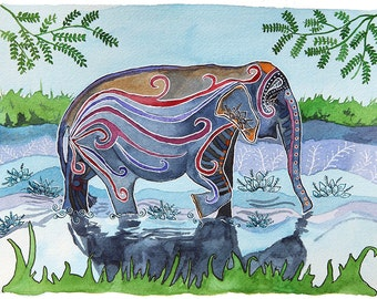 River Elephant: Watercolor and ink archival art print- animal illustration- giclee print