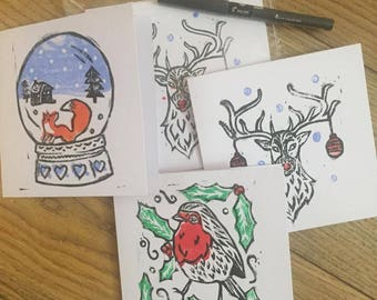 Lino print Christmas card pack (6 cards)