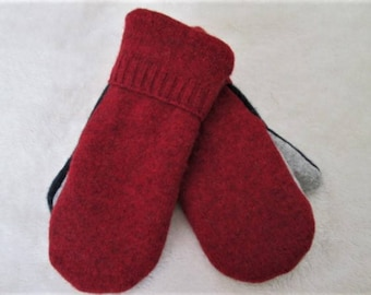 Wool Sweater Mittens, Women's Medium,  Made from Eco-Friendly Re-cycled Felted Wool Sweaters