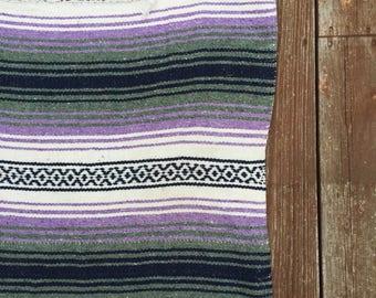 Vintage - Falsa Blanket Mexican Textile Woven Beach Picnic Yoga Throw Tribal Southwestern Ethnic Hippie Boho Bohemian Home Decor