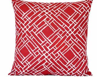 SALE 10.00 Red Geometric Pillow Cover Cushion White Lattice Trellis Geometric Modern Nautical Americana Decorative Repurposed 16x16