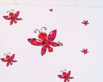 Butterfly crystal jewelry watercolor illustration flat note card