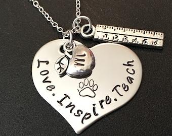 Love Inspire Teach -Teacher Appreciation Gift -Personalized Jewelry - Teacher's Necklace - Teacher's Jewelry - Hand Stamped-Teacher's Gift#f